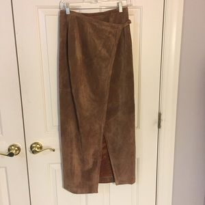 100% genuine leather maxi skirt